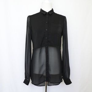 Free People black button up slit tail back blouse
